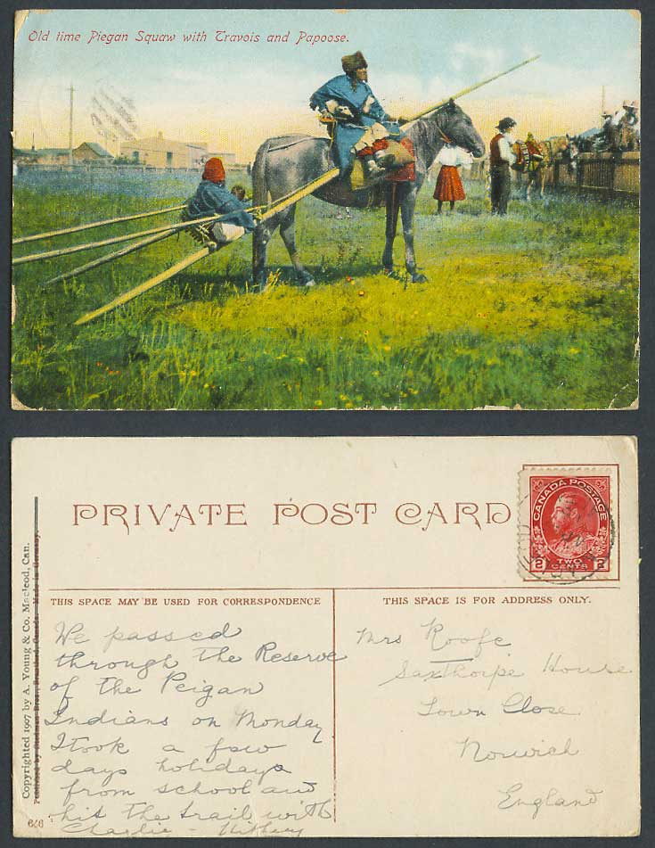 Canada 1918 Vintage Postcard Old Time Piegan Squaw, Travois Papoose, Horse Rider