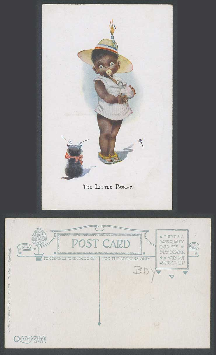 Black Comic Boy Girl Milk Bottle The Little Beggar Black Cat Kitten Old Postcard