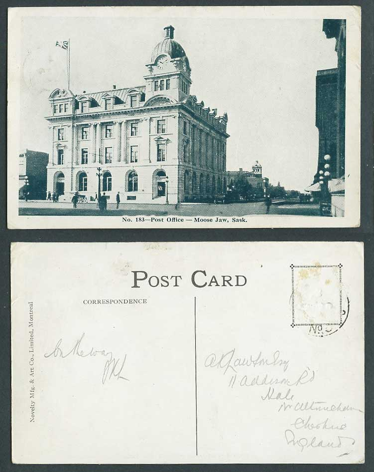 Canada Moose Jaw Post Office, Street Scene Clock Tower British Flag Old Postcard