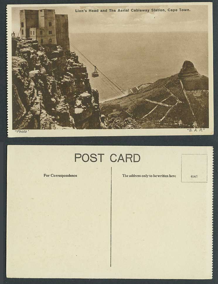 South Africa Old Postcard Lion's Head and Aerial Cableway Station, Cape Town SAR