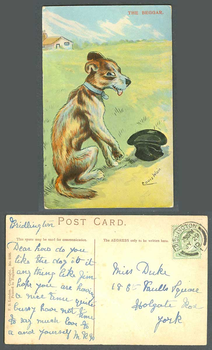Louis Wain Artist Signed Dog Puppy, The Beggar & Hat 1910 Old Postcard ES London