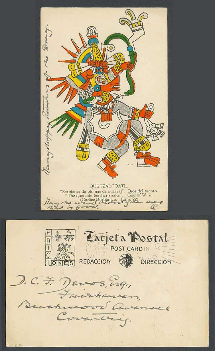 Mexico Quetzalcoatl 1937 Old Postcard Quetzal Quetzale Feather Snake God of Wind