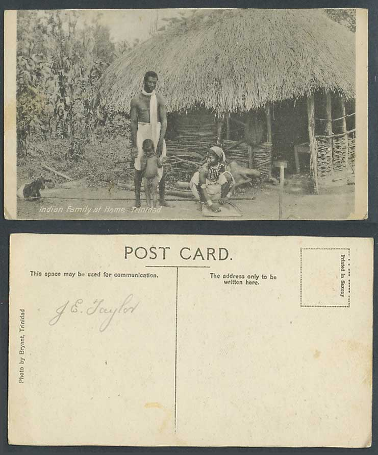 Trinidad B.W.I. Old Postcard Indian Family at Home, Native House Woman Boy,Goat
