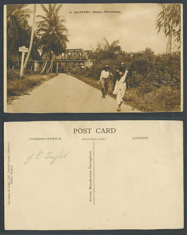 Trinidad B.W.I. Old Postcard A Country Road Bridge Palm Trees Street Scene 2 Men