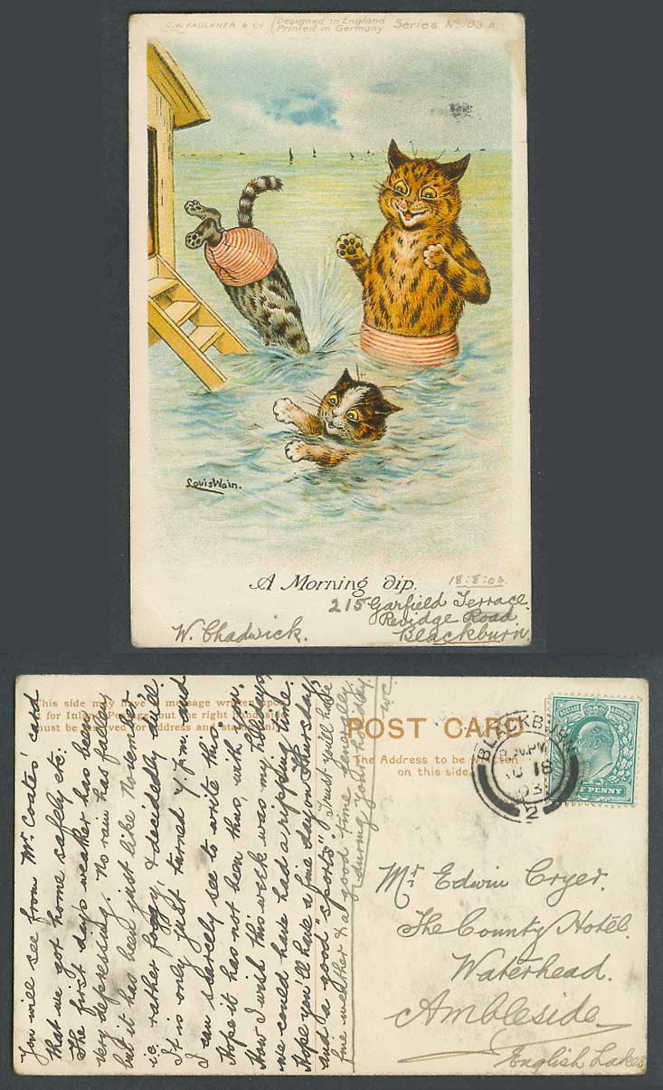 LOUIS WAIN Artist Signed Cats Kittens Diving A Morning Dip Sea 1903 Old Postcard