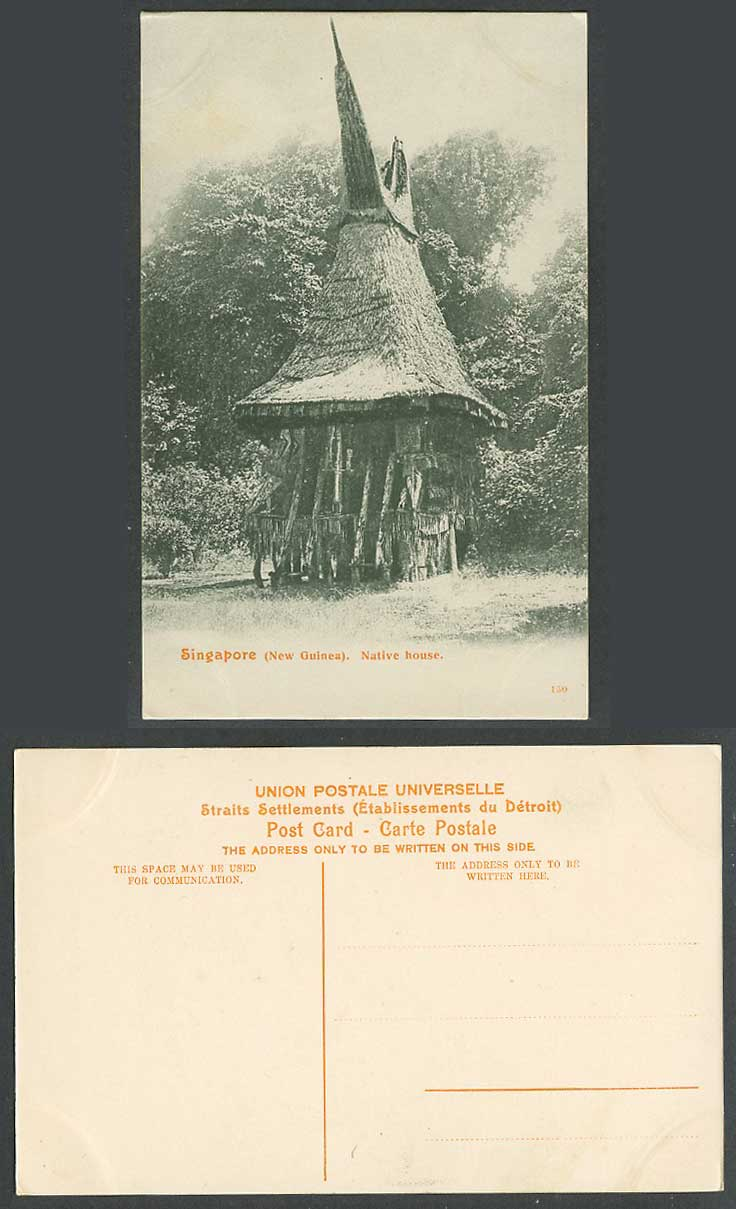 Singapore Old Postcard New Guinea, Native House Hut, Ethnic, Straits Settlements