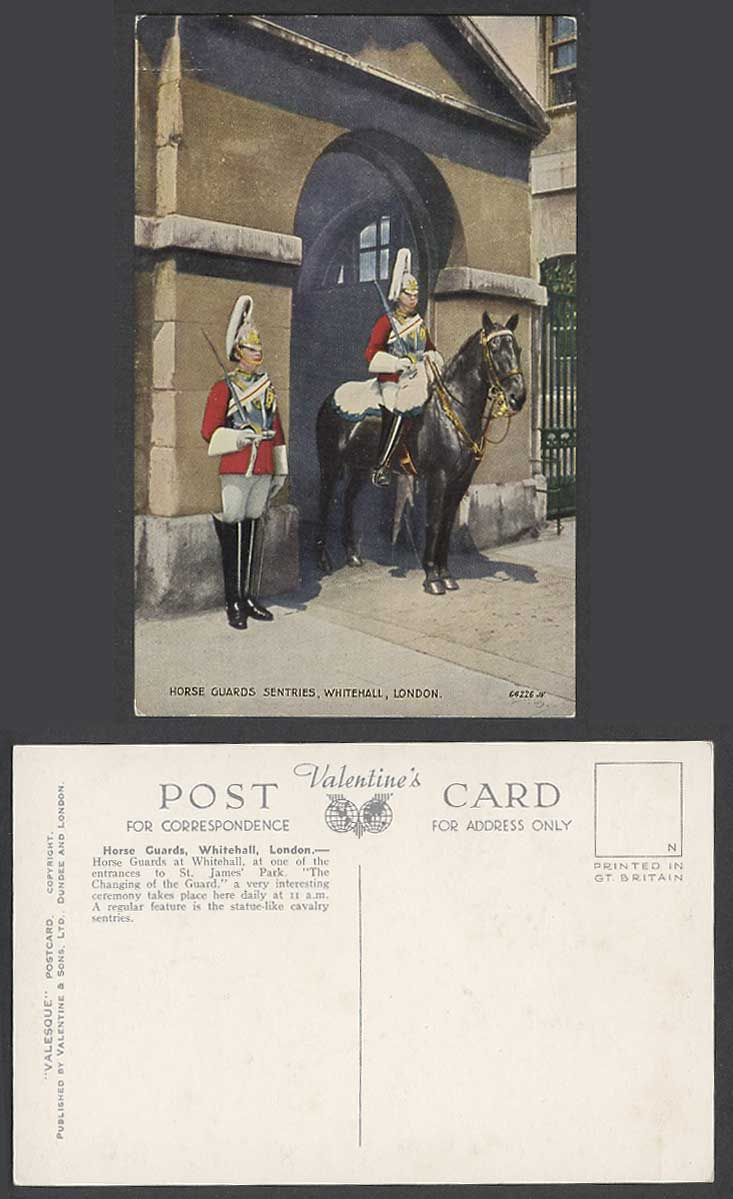London Old Colour Postcard Horse Guards Sentries Whitehall 11a.m. Changing Guard