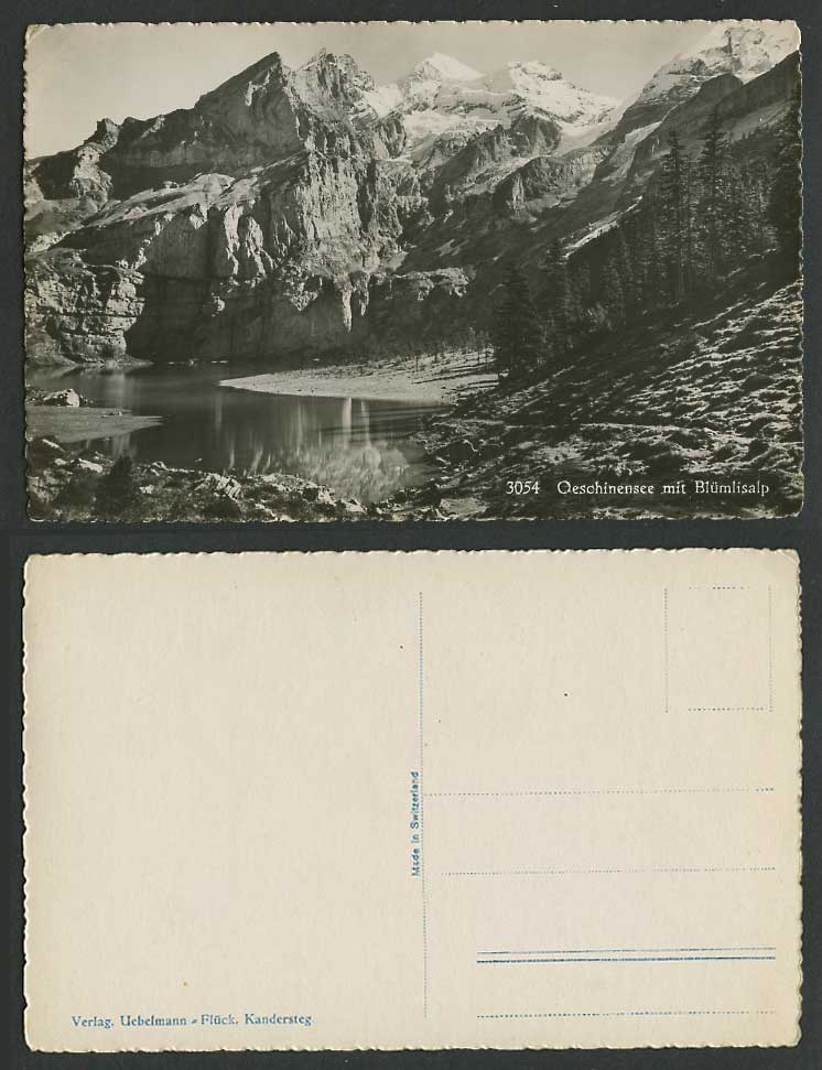 Swiss Switzerland Old Real Photo Postcard Oeschinensee Lake Bluemlisalp Mountain