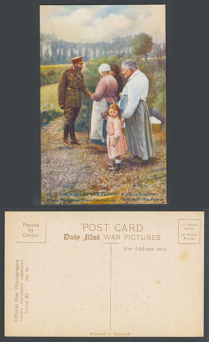WW1 Daily Mail Old Postcard KING GEORGE 5th at THE FRONT A Talk to Peasants Girl
