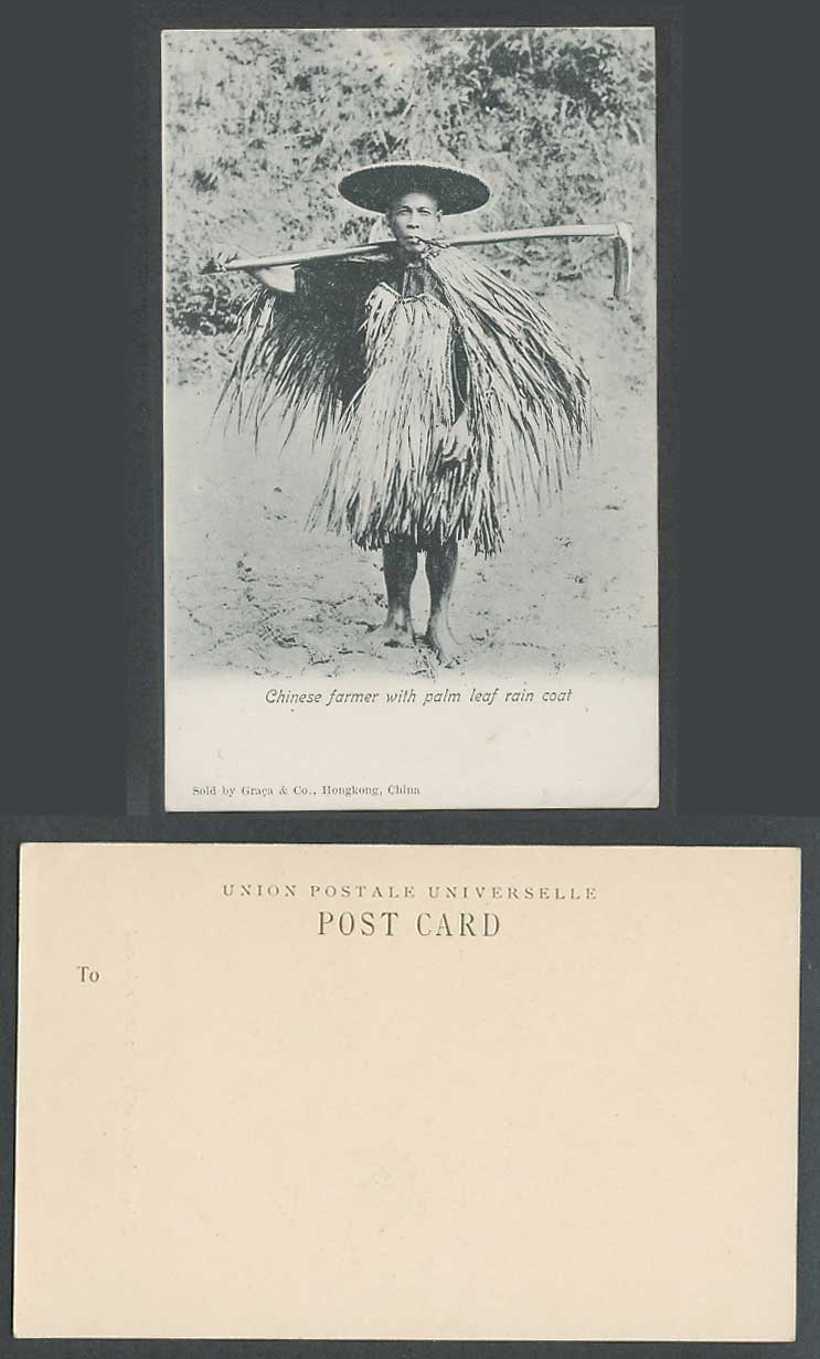 Hong Kong China Old UB Postcard Native Chinese Farmer Smoking Palm Leaf Raincoat