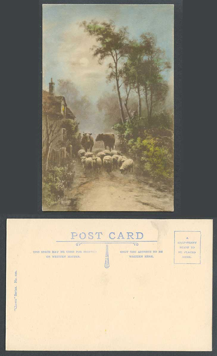 Elmer Keene Artist Signed Old Colour Postcard Sheep Cattle Street Moonlight Moon