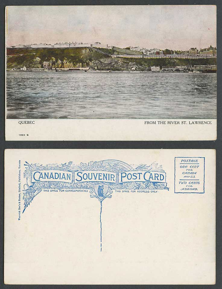 Canada Old Colour Postcard Quebec from River St. Lawrence Panorama Warwick Bro's