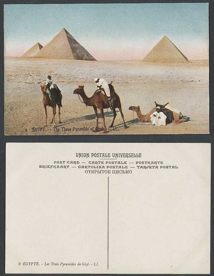 Egypt Old Postcard Cairo 3 Three Pyramids Gizeh Giza, Camels Camel Riders L.L. 9