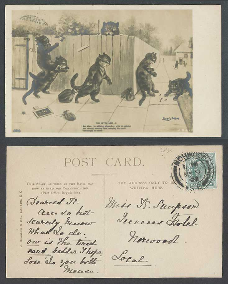 Louis Wain Artist Signed Cats Seven Ages II, Whining Schoolboy 1903 Old Postcard