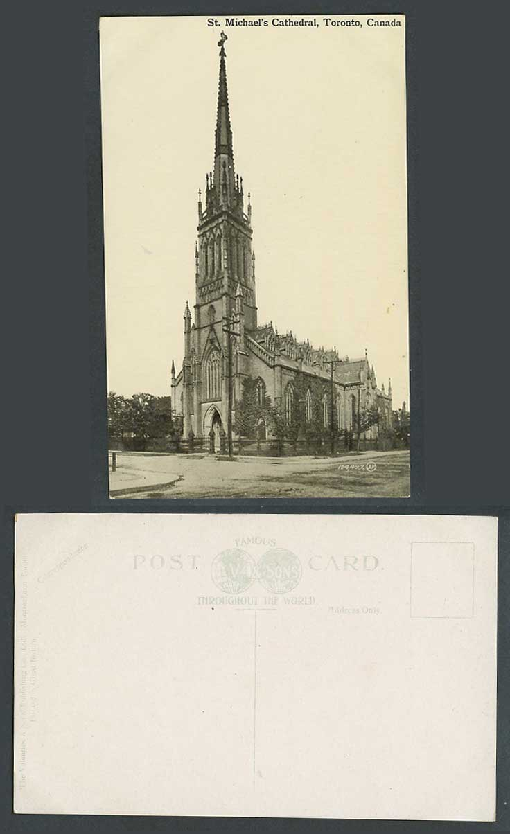 Canada Old Postcard St. Michael's Cathedral Cross Church Tower Toronto Valentine