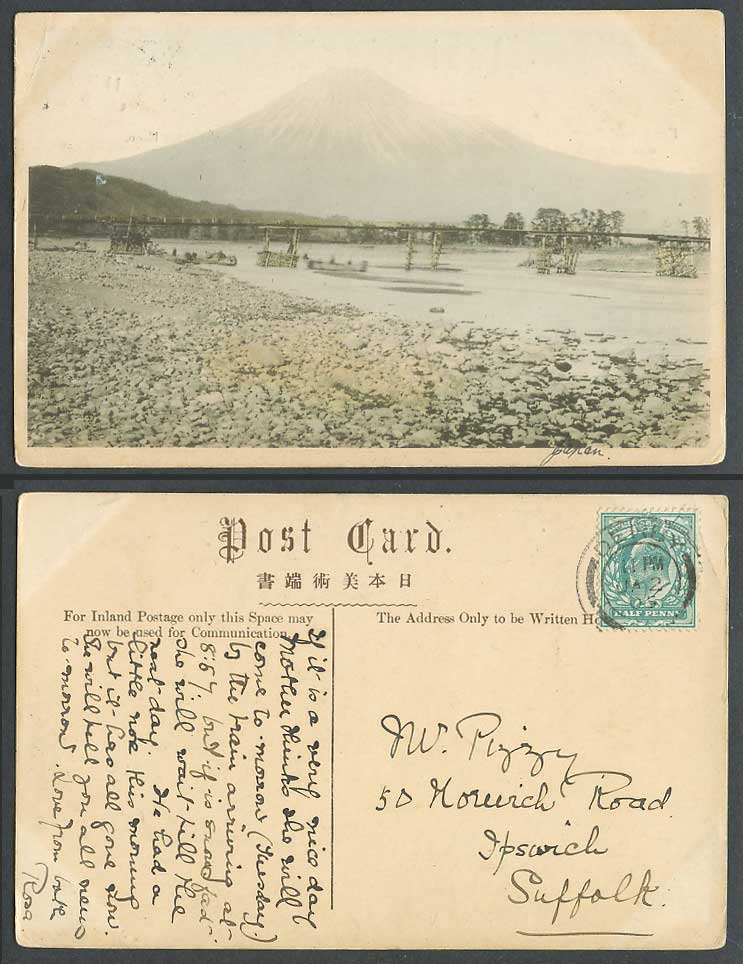 Japan GB KE7 1/2d 1905 Old Hand Tinted Postcard Mount Mt Fuji Bridge River Scene