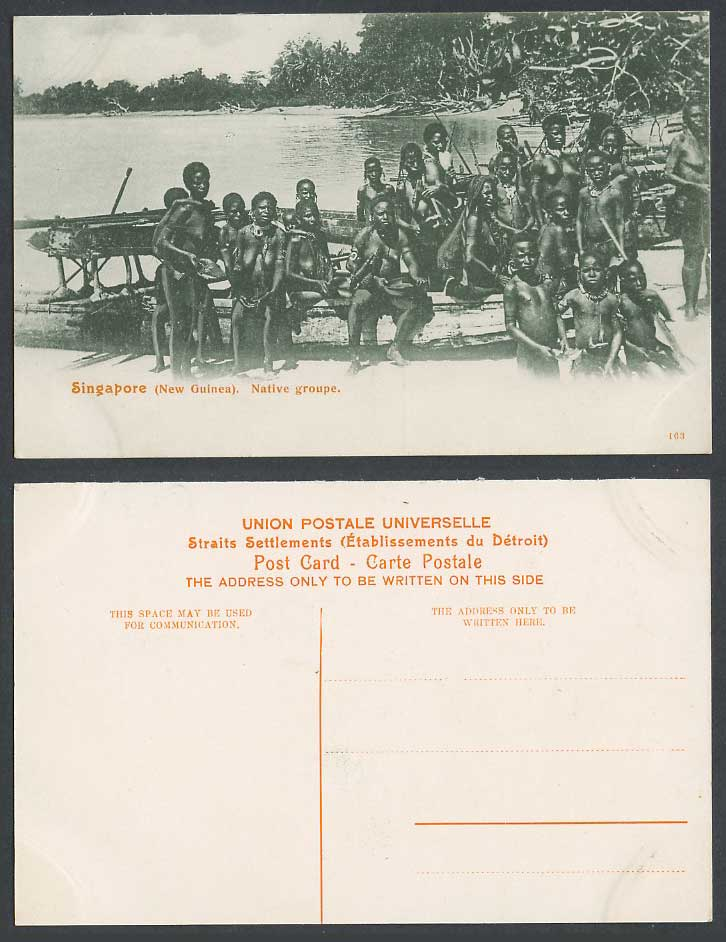 Singapore Old Postcard New Guinea Native Group Men Women Children Boats on Beach