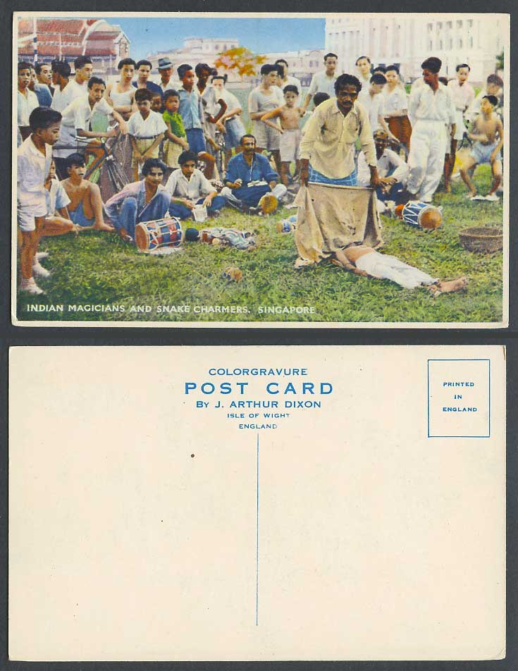 Singapore 1950 Old Colour Postcard Indian Magicians Snake Charmers Jugglers Drum