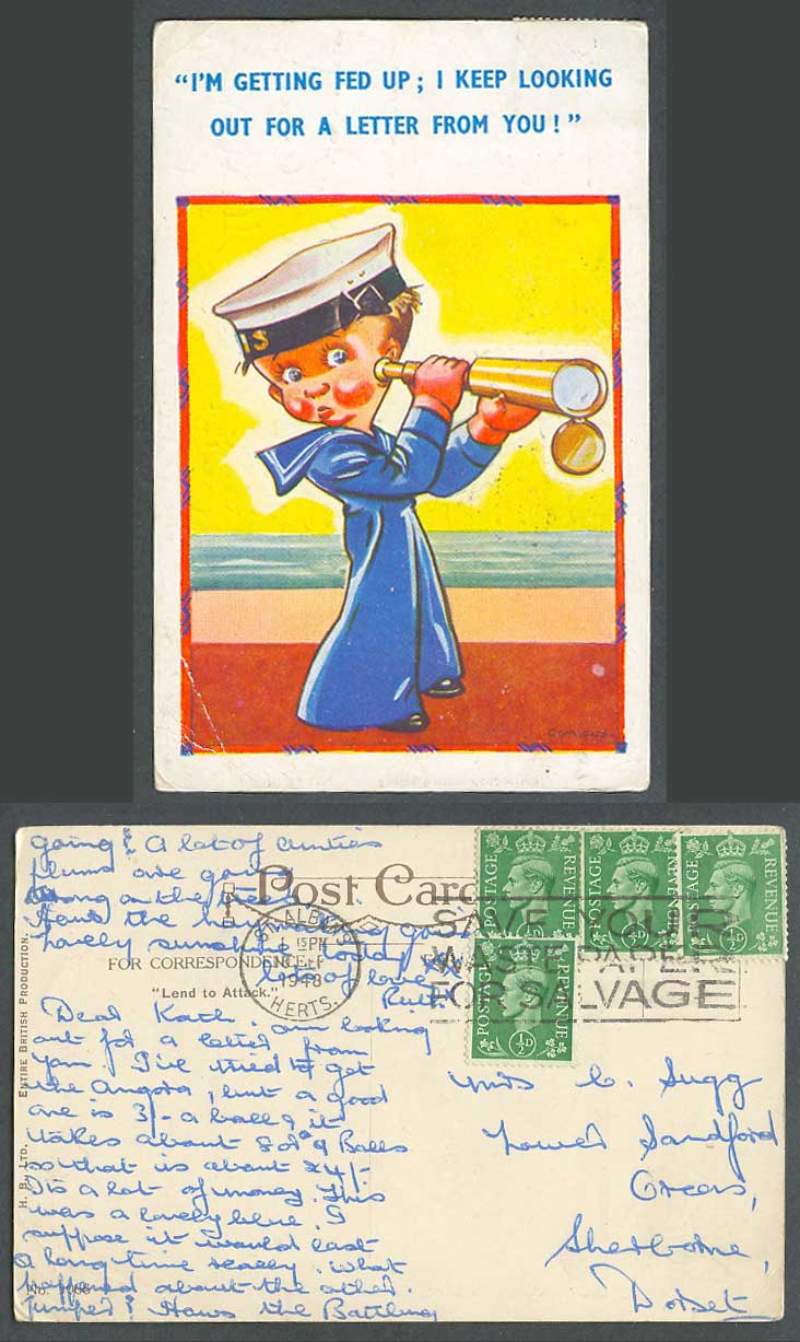 Comicus 1948 Old Postcard Navy Seaman Boy Monocular Look out for letter from You