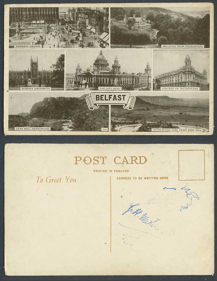 N. Ireland Old Postcard Belfast College of Technology, Hazelwood Park, City Hall