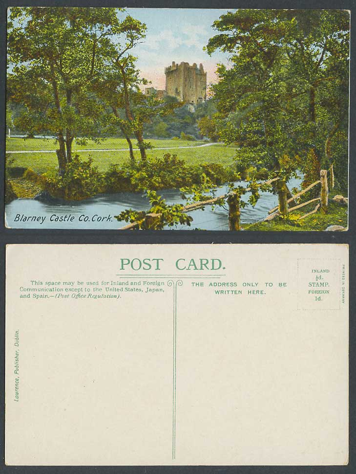 Ireland Co. Cork Old Colour Postcard Blarney Castle from River Scene, Lawrence