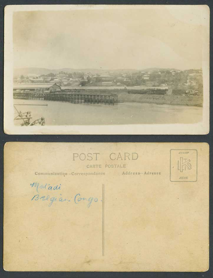 Belgian Congo Old Real Photo Postcard Matadi, Pier Jetty, Panorama General View