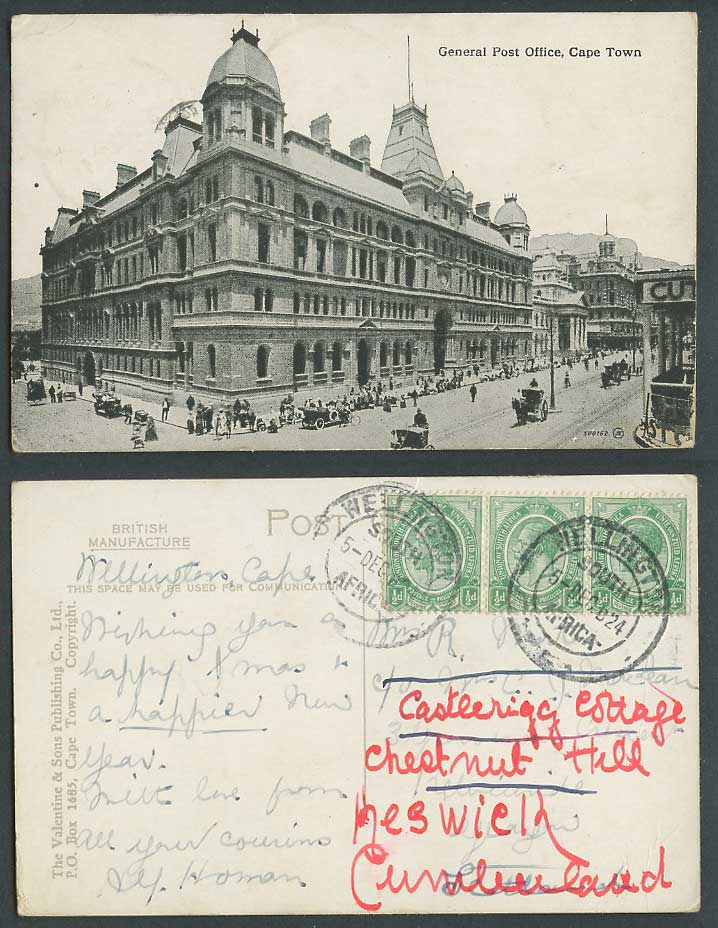 South Africa KG5 1/2d x 3 1924 Old Postcard General Post Office Cape Town Street