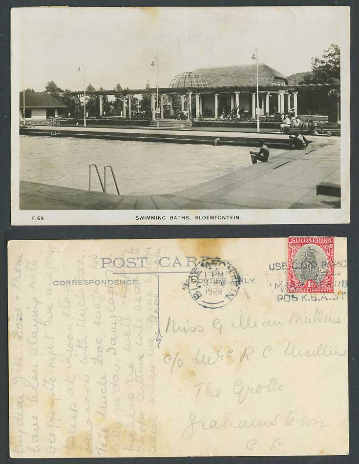 South Africa 1d 1928 Old Photo Postcard Bloemfontein Swimming Baths Bathing Pool