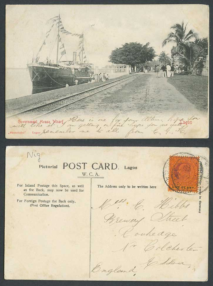 Nigeria Lagos 1d 1905 Old Postcard Government House Wharf, Ship, Street Railroad