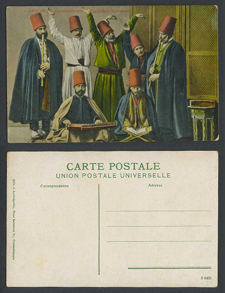 Turkey Old Postcard Salut de Constantinople Howling Whirling Derviches Tourneurs