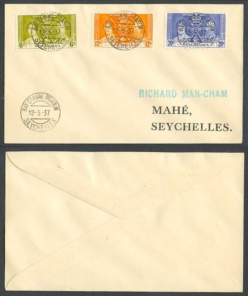 Seychelles 12th May 1937 SG132-134 KG6 Coronation Full Set of 3 First Day Cover