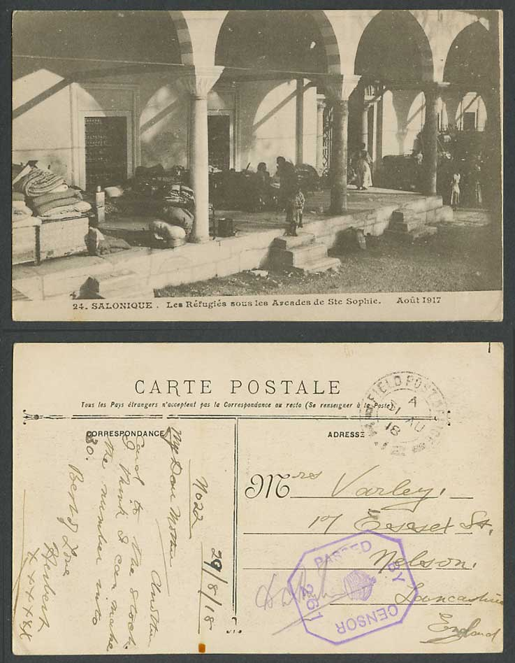 Greece WW1 1918 Old Postcard Refugees Ste Sophie Arcades Salonica Salonique 1917