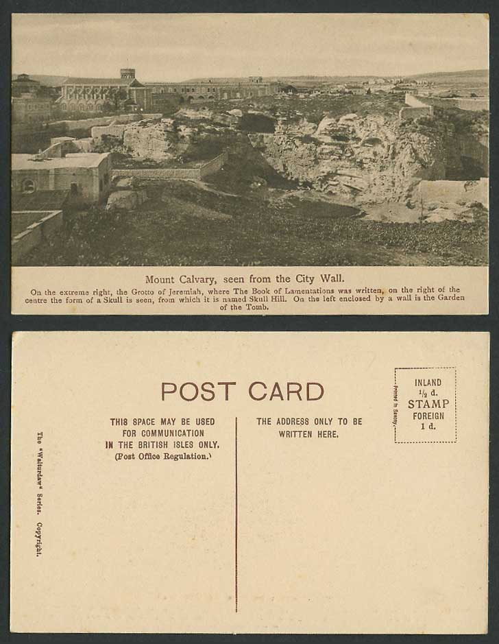 Palestine Old Postcard Mount Calvary from City Wall, Skull Hill, Jeremiah Grotto