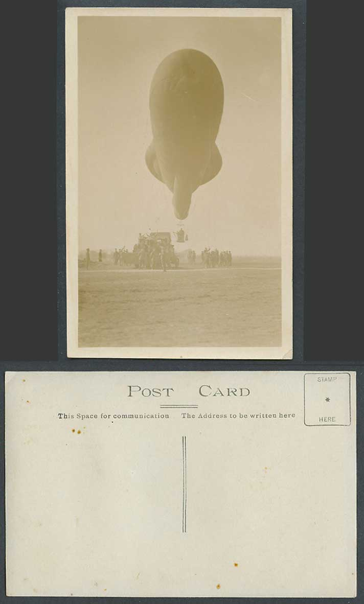 WW1 BALLOON, Military Aircraft Airship Zeppelin Soldiers Old Real Photo Postcard