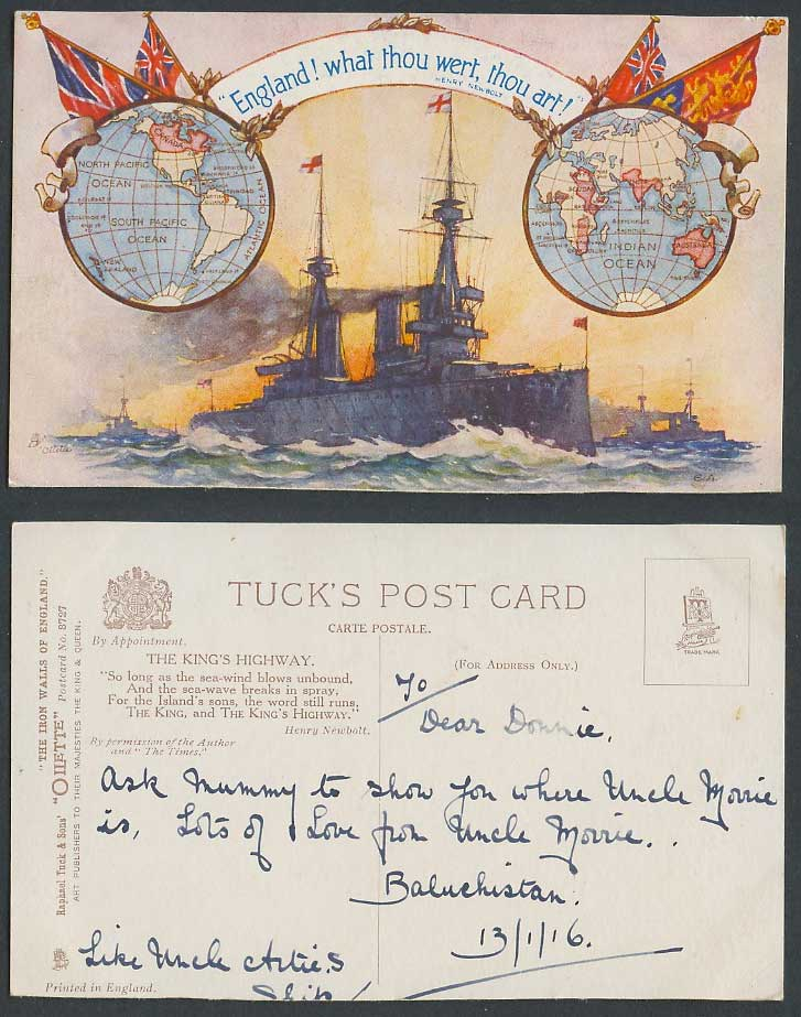 WW1 The Iron Walls of England King's Highway Warship EA 1916 Old Tuck's Postcard