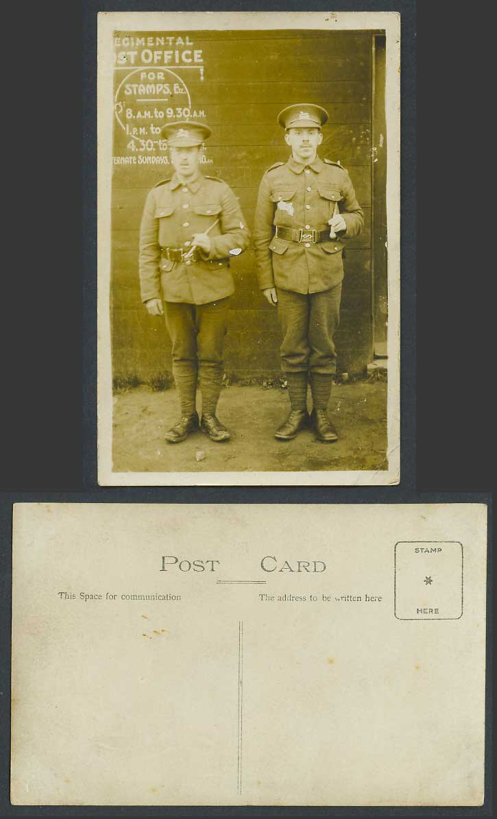 WW1 Regimental Post Office for Stamps, Soldiers Military Uniform Old RP Postcard