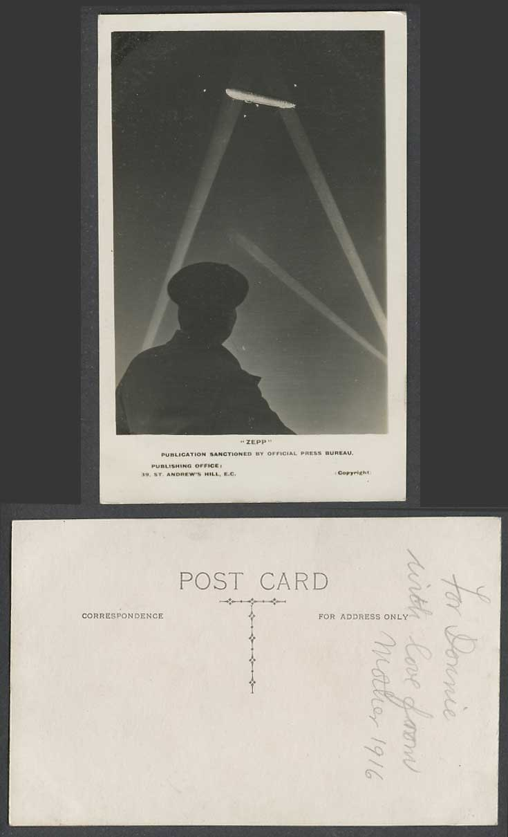Zeppelin Zepp, Soldier Looking at Airship Night Military Old Real Photo Postcard