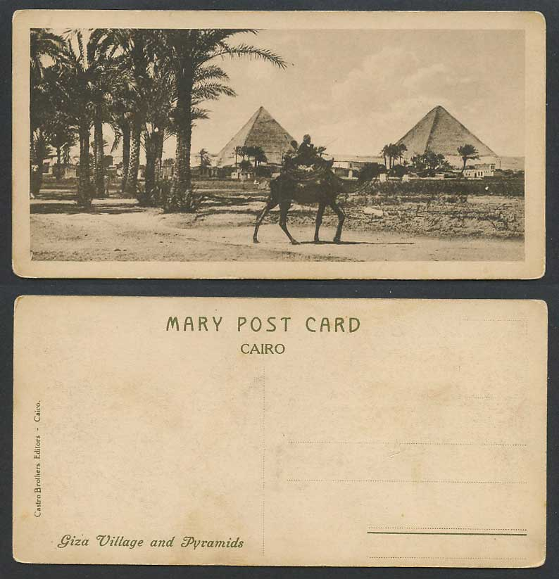 Egypt Old Postcard Cairo Giza Village & Pyramids Camel Rider Palm Trees Bookmark