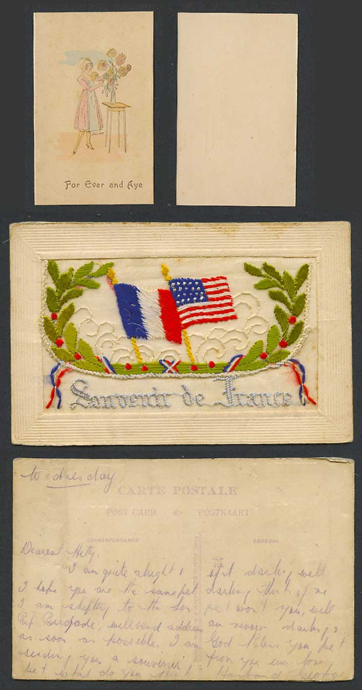 WW1 SILK Embroidered Old Postcard Souvenir from France, US & French Flags Wallet