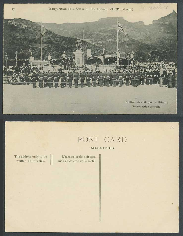 Mauritius Old Postcard Port Louis, Inauguration King Edward 7th Statue, Soldiers