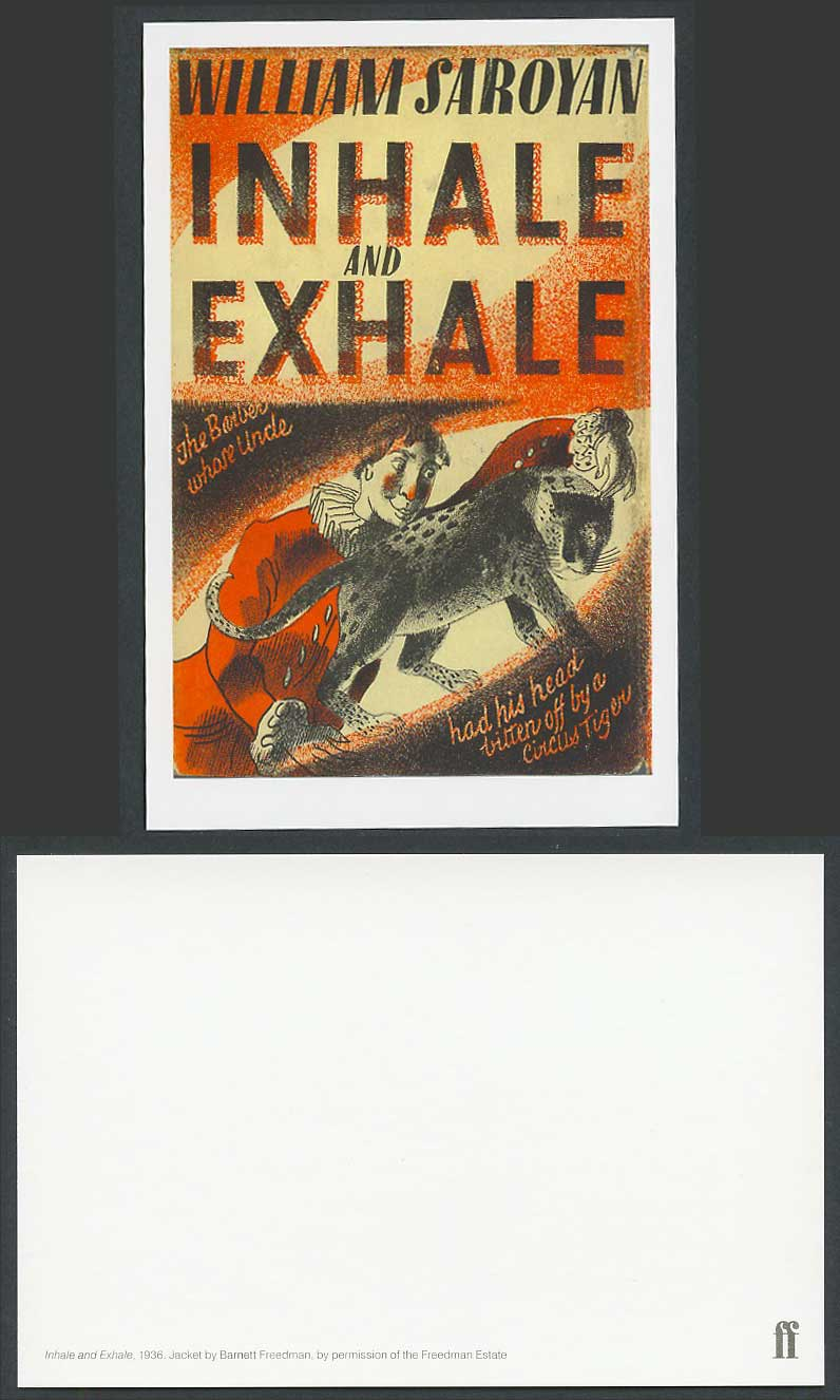 Faber Book Cover Postcard INHALE & EXHALE 1936 by W. Saroyan, Circus Tiger Clown