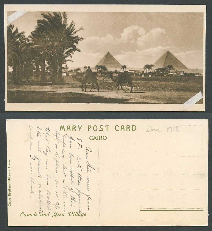 Egypt 1918 Old Postcard Camels & Giza Village Pyramids Cairo Palm Trees Bookmark