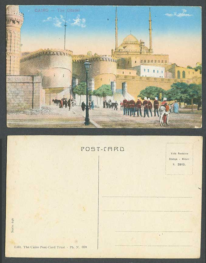 Egypt Old Colour Postcard Cairo Entrance of Citadel Street Scene Soldiers Police