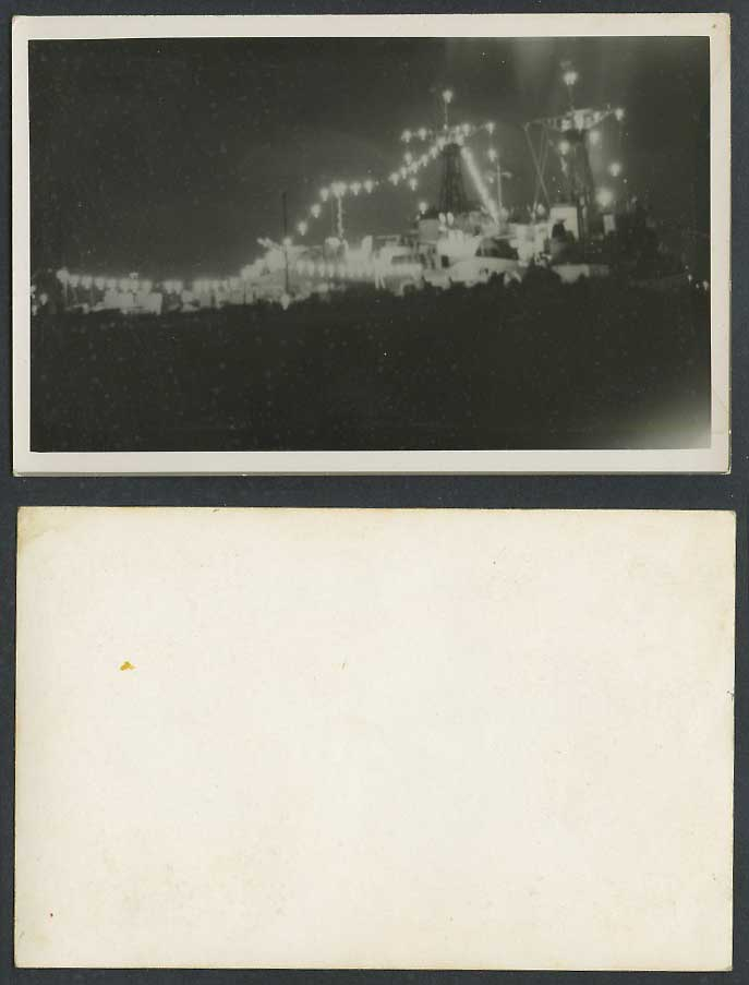 Illuminated Decorated Military Vessel Warship Battleship Old Real Photo Postcard