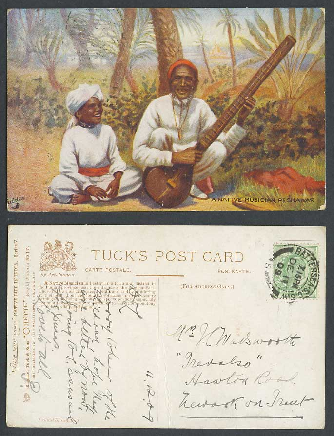 Pakistan India 1909 Old Tuck's Oilette Postcard A Native Musician Peshawar SITAR