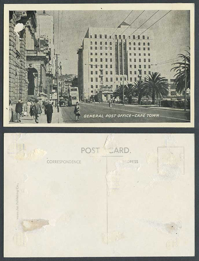 South Africa Old Postcard General Post Office Cape Town, Street Scene Palm Trees