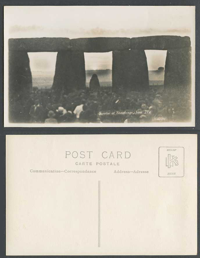 Stonehenge Sunrise June 21st, Salisbury Plains Wiltshire Old Real Photo Postcard