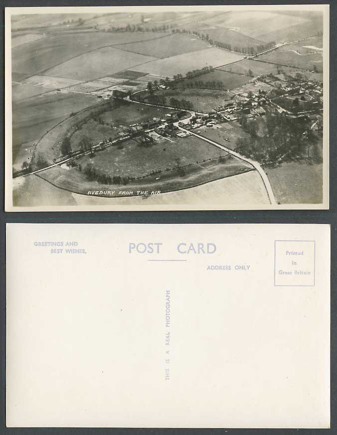Avebury From The Air, Aerial View, Panorama, Wiltshire Old Real Photo Postcard