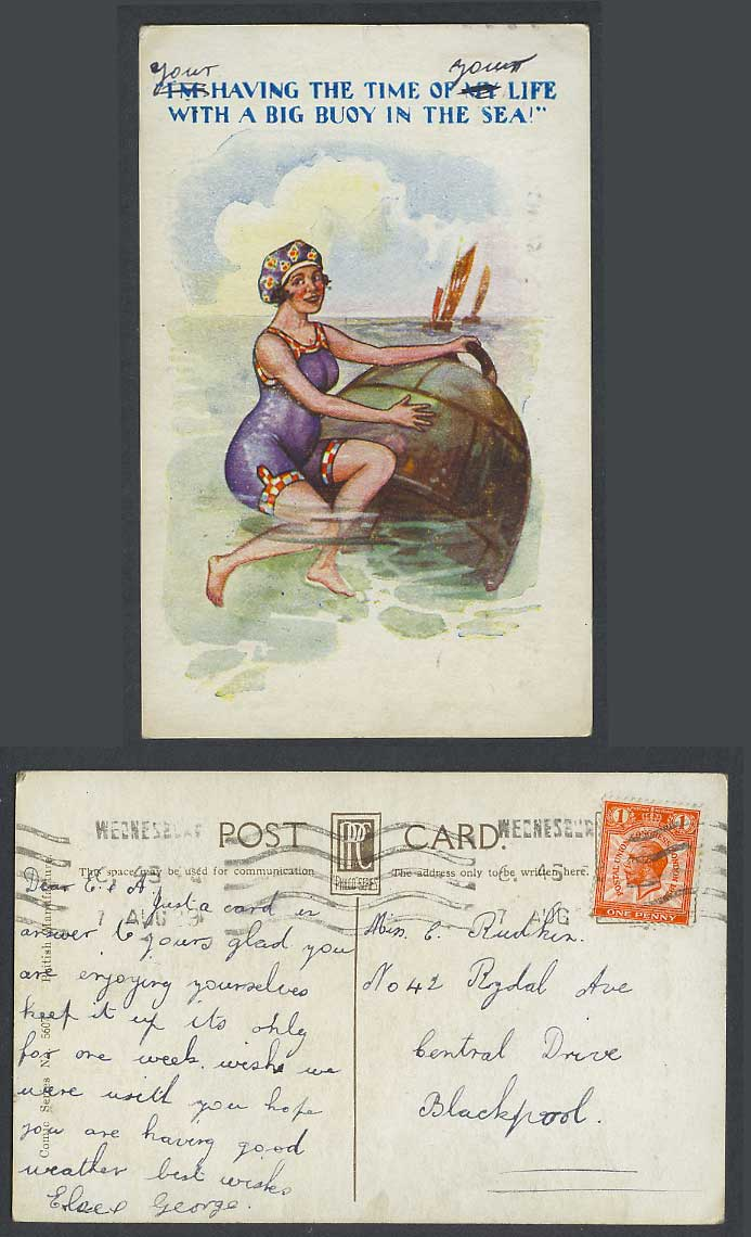 Lady I'm Having The Time of My Life with a Big Buoy in the Sea 1929 Old Postcard