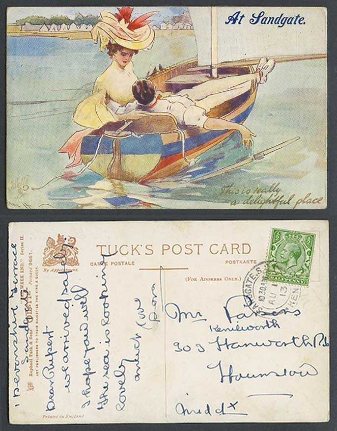 Hal H Boat At Landgate is Really a delightful place 1913 Old Tuck's Postcard ART